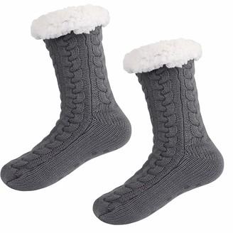 Jorlyen Slipper Fluffy Socks for Women - Winter Women Cute Non Slip Fleece Lined Slipper Socks Soft Cozy Cotton Knitted Warm Sock for Girls