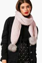 boohoo Textured Pom End Scarf