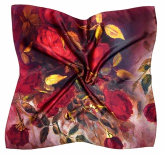 Bees Knees Fashion Red Roses Print Thick Small Silk Square Scarf