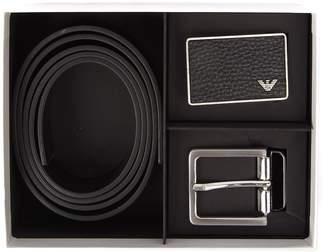 Emporio Armani Black Leather Belt With Logo Buckle