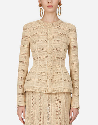 Dolce & Gabbana Single-Breasted Jacket With Raffia Embroidery