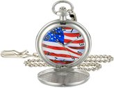 EWatchFactory Men's 'EW Flag Pkt' Quartz Metal Pocket Watch, Color:White (Model: PW00072)