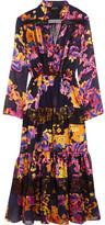 Saloni Alyssa Lace-trimmed Ruffled Floral-print Chiffon Dress - Black