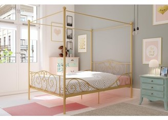 DHP Canopy Metal Bed, Full Size Frame, Pewter