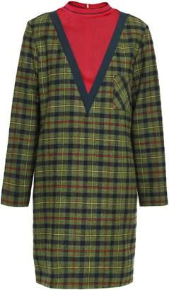 M Missoni Ribbed Knit-paneled Checked Wool-blend Mini Dress