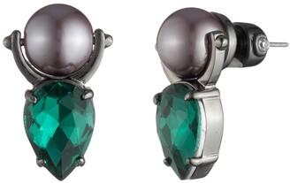 Carolee Teardrop Rhinestone Imitation Pearl Doorknocker Earrings