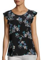 Joie Kerr Brushstroke Floral Print Silk Blouse