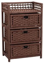 Household Essentials ML-7000 Paper Rope Chest w/ 3 Drawers, Dark Stained