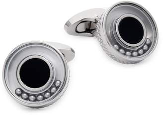 Tateossian Titanium & Black Agate Cufflinks