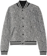 R 13 Quilted Leopard-Print Silk Bomber Jacket