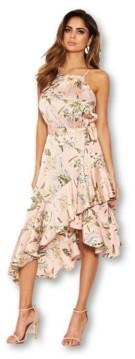 AX Paris Women's Floral Printed Wrap Frill Midi Dress