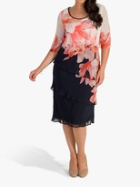 Chesca chesca Garland Border Layered Chiffon Dress, Navy/Coral/Ivory