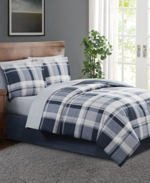 Pem America Chambray Plaid King 8PC Comforter Set Bedding