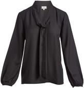 Très Jolie Women's Blouses BLACK - Black Tie-Neck Long-Sleeve Top - Women