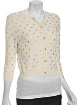 Autumn Cashmere ivory cashmere foil polka dot cardigan sweater