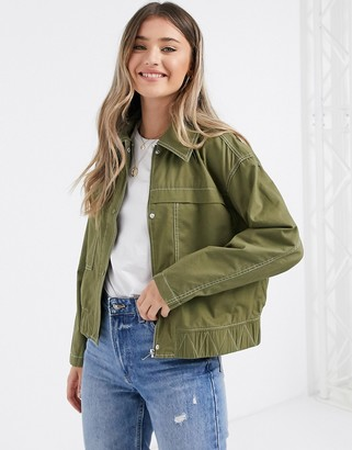 JDY pearl utility cropped jacket in olive
