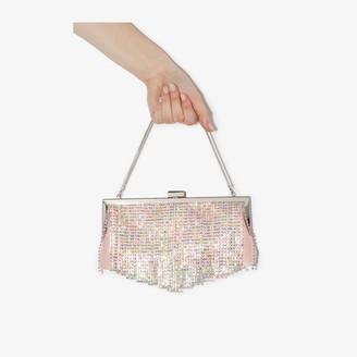Black & Brown pink Pattie crystal fringe shoulder bag