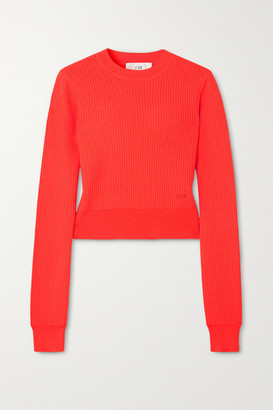 Victoria Victoria Beckham Neon Ribbed Pointelle-knit Sweater - Coral