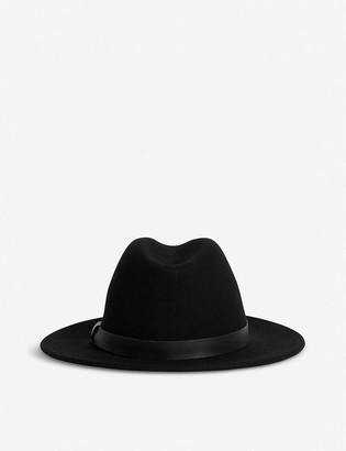 AllSaints Bronson leather-trim wool fedora