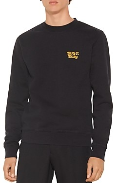 Sandro Easy Cotton Embroidered Sweatshirt