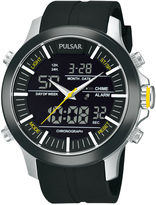 Pulsar Mens Analog/Digital Black Strap Watch PW6001
