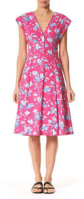 Carolina Herrera Vine-Leaf-Print Cap-Sleeve Dress