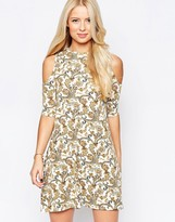 Club L Cold Shoulder Dress In Paisley Print