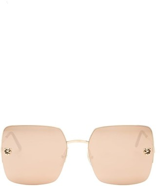 Cartier Panthere De Square Metal Sunglasses - Gold