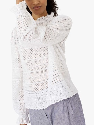 Brora Broderie Anglaise Top, White
