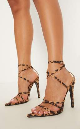 PrettyLittleThing Leopard Print Point Toe Strappy Sandal