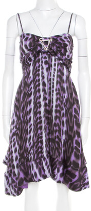 Just Cavalli Purple and Black Animal Printed Silk Tie Detail Sleeveless Dress S