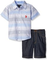 U.S. Polo Assn. Big Boys 2 Piece Short Sleeve Striped Woven Shirt and Denim Short