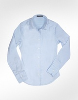 Solid Light Blue Oxford Cotton Classic Fitted Blouse