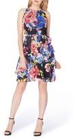 Tahari Petite Women's Asymmetrical Tiered Chiffon Halter Dress