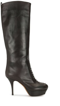 Yves Saint Laurent Pre-Owned Lace-Up Detail Knee-Length Boots