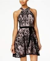 B. Darlin Juniors' Flocked Fit & Flare Dress