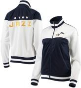 G Iii Women's G-III 4Her by Carl Banks White/Navy Utah Jazz Tip Off Rhinestone Tricot Full-Zip Track Jacket