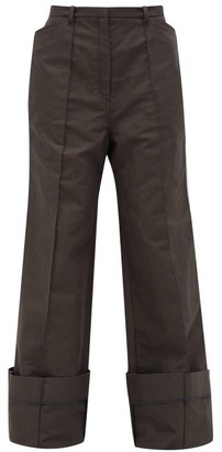 Lemaire Wide-leg Cotton-blend Twill Trousers - Womens - Dark Grey