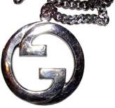 Gucci Large Rhoduim Sterling Silver Plated Pendant Necklace