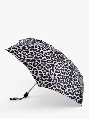 Fulton Cheetah Print Telescope Umbrella, Black/Multi