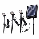 Kenroy Home 3-Light Solar Deck, Dock and Path String Spotlights in Black