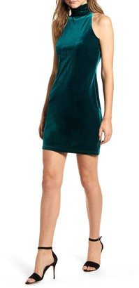1 STATE Halter Neck Stretch Velvet Body-Con Minidress