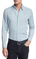 Ermenegildo Zegna Flannel Long-Sleeve Sport Shirt, Green
