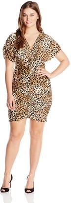 Star Vixen Women's Plus-Size Ruched Leopard-Print Dress