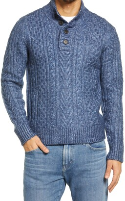 Schott NYC Cable Knit Henley Sweater