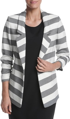 Jones New York Women's Twill Stripe Boyfriend Blazer