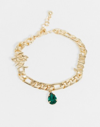 ASOS DESIGN chain bracelet with love gothic font and charms in gold tone