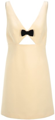 Miu Miu Bow Detail V-Neck Dress