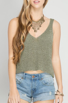 She + Sky Knit Crop Top
