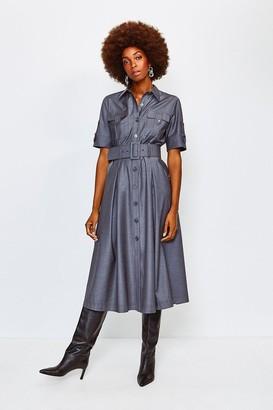 Karen Millen Polished Stretch Wool Blend Utility Dress